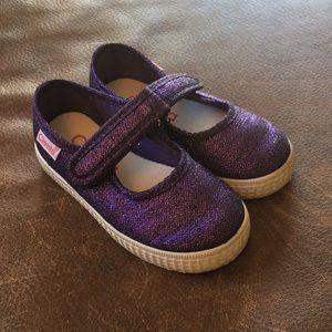 Cienta purple sparkle shoes
